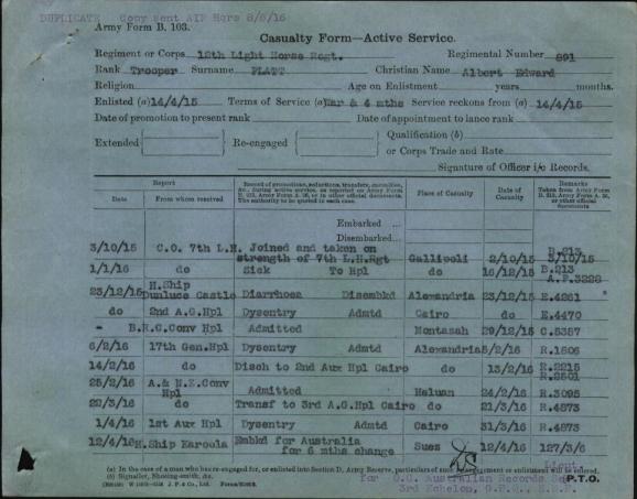 Albert Platt's Casualty Form - Active Service