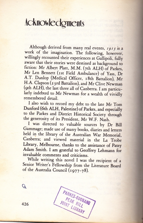 Acknowledgement from 1915 author Roger McDonald of the help that Bert Platt, along with others from Parkes, were in the writing of his novel