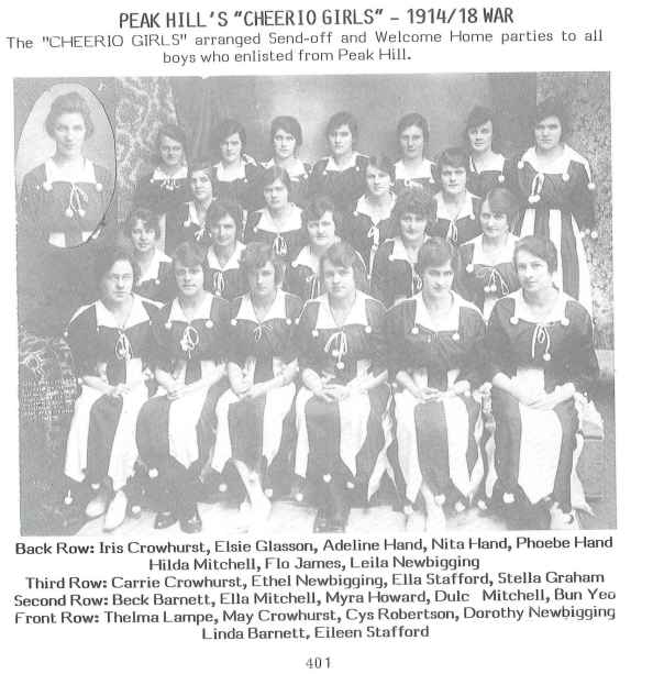 "Photograph of Peak Hill's ""Cheerio Girls"" who arranged send-offs and welcome home parties to all boys who enlisted from Peak Hill"