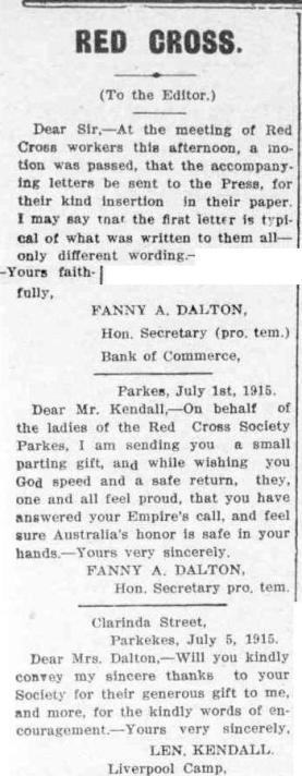 Letter from Parkes Red Cross Society showing the pride in men who were answering the King's call