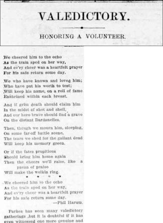 National Poem showing the pride reserved for those who volunteered to enter service. Accompanying article also shows how far and wide people would travel to send-off those who had enlisted