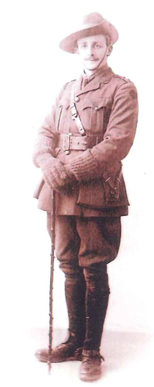 Major Sydney James Walker in his full World War 1 attire, including woolen gloves