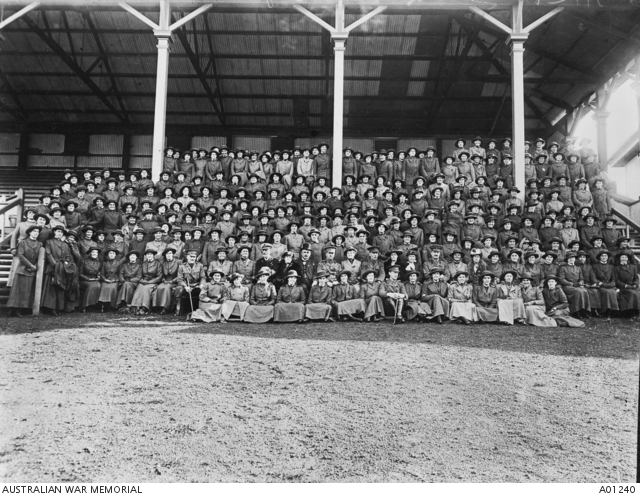 Group portrait of Australian Army Nursing Service (AANS) sisters from Qld, NSW, Vic, Tas, and SA, bound for Salonica, Greece on the RMS Mooltan