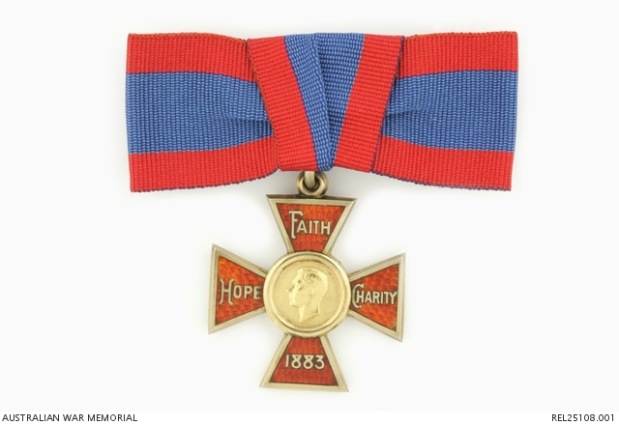 The Royal Red Cross 1st Class medal with Faith Hope Charity 1883 the words listed on the medal