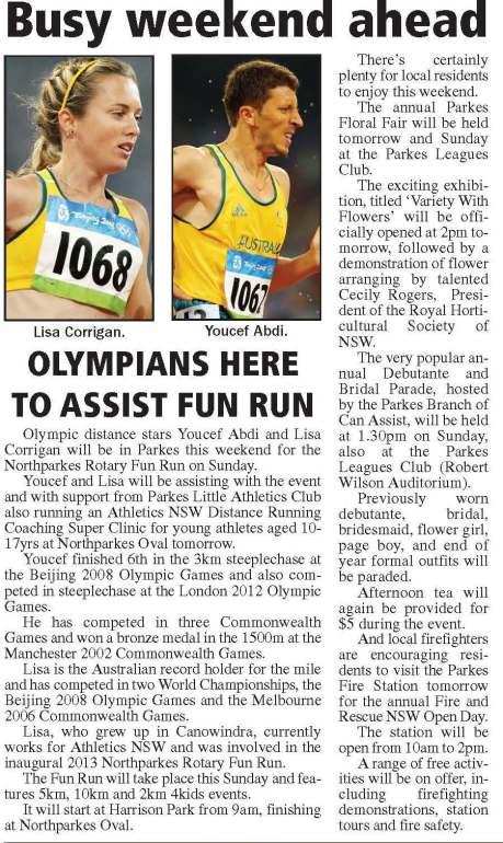 Harrison Park has had Australian Olympians running on its turf
