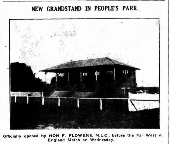 The official opening of the Parkes grandstand at People's Park. Special guest was Hon F. Flowers MLC who opened the grandstand before the Far West vs England match. Photo: NEW GRANDSTAND IN PEOPLE'S PARK. (1928, July 19). Western Champion (Parkes, NSW : 1898 - 1934), p. 9. Retrieved August 25, 2015, from http://nla.gov.au/nla.news-article113532429