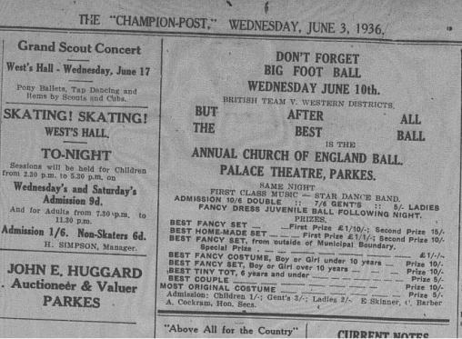 An advertisement for a ball using the English rugby league team visit to help promote their event. Source: The Champion-Post Wednesday, June 3 1936, Microfilm Collection, Parkes Shire Library