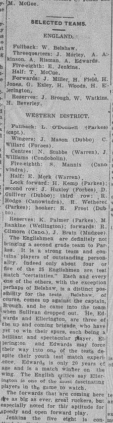 List of the players for the upcoming England rugby league team vs Far West. Included are several Parkes players Source: The Champion-Post Wednesday, June 3 1936, Microfilm Collection, Parkes Shire Library