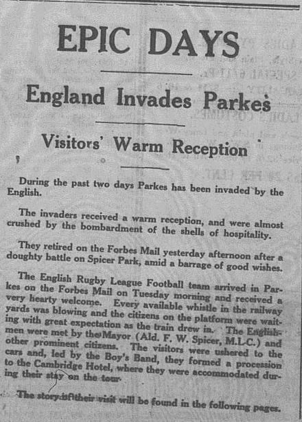 Parkes Hospitality laid on for English footballers Source: The Champion-Post Thursday, June 11 1936, Microfilm Collection, Parkes Shire Library