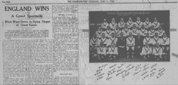 Headline and photo of the English rugby league team's visit to Parkes Source: The Champion-Post Thursday, June 11 1936, Microfilm Collection, Parkes Shire Library