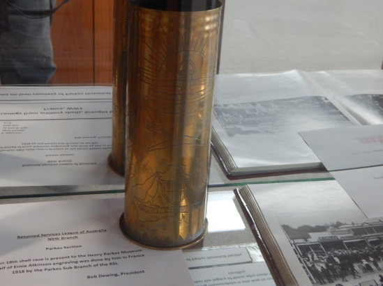 Private Ernie Atkinson engraved this German shell and gave it to Parkes Historical Society after his return to Parkes. While the detail doesn't show up brilliantly in the photograph, the engraving has been skilfully performed. Item on loan courtesy of Parkes Historical Society.