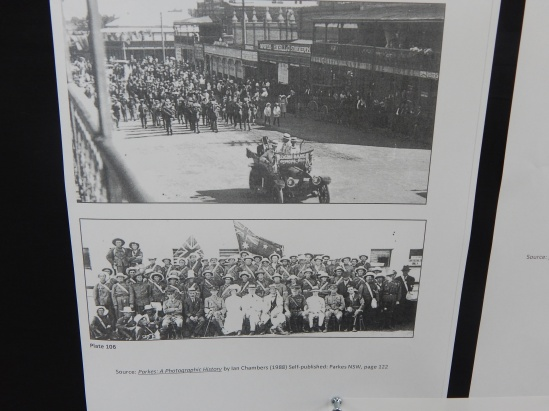 Close up of the 'Boomerang' march in 1916 which started in Parkes. These pages are from Parkes: A Photographic History by Ian Chambers. Parkes Shire Library has two copies of this excellent book, one available for members to borrow and another reference copy in the Family & Local History room.