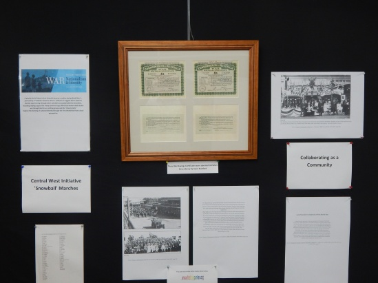 Photograph of War Savings Certificates, Boomerang marches through Parkes and the local response to announcement of World War 1 being declared.