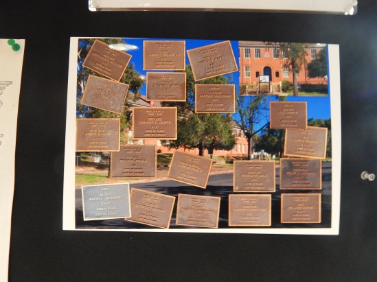 Montage of memorial plaques that are located on the grounds of Parkes High School. Item on loan courtesy of Parkes Historical Society