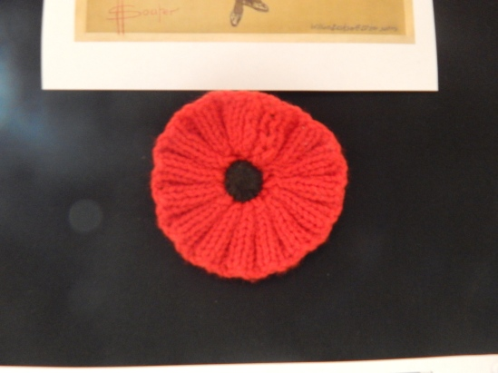 Crocheted poppy. Making items was a widespread commitment from women everywhere, not just in the Parkes Shire. The sound of knitting needles clacking away were heard in cinemas, at work places and even in some churches. Item on loan courtesy of Parkes Historical Society.