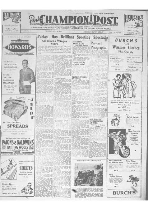 Front page of Parkes Champion Post Thursday June 28, 1951 reporting of the All Blacks visit to Pioneer Oval