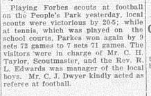 Charlie Dwyer was a selfless pillar of the Parkes Shire community. Just one report from Western Champion of him volunteering to referee a game of football between Parkes Scouts and Forbes Scouts