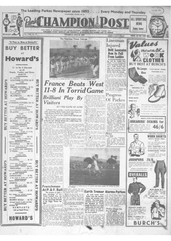 Front page of Parkes Champion Post Thursday July 21 1955