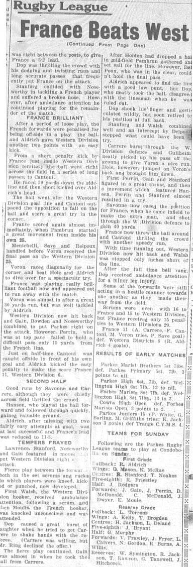 Continued report of match between France and Western Districts. While Western Districts were unable to score any tries, Parkes player Ray Aldrich scored four penalty goals.
