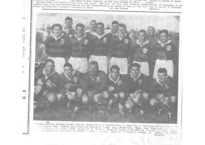 Team photograph of Western Districts Rugby Union team that played against France