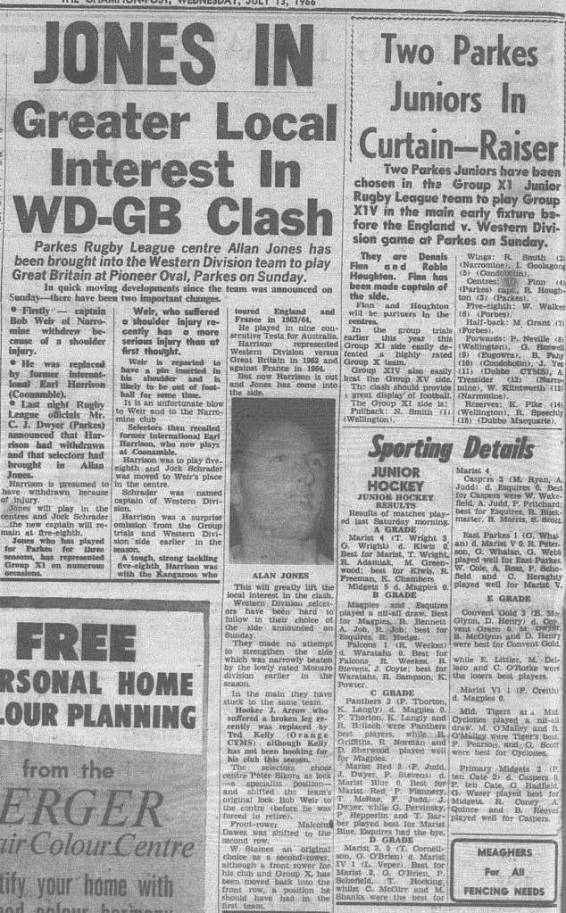 Great sport at Pioneer Memorial Oval for those residents of the Parkes Shire. Source: The Champion Post Wednesday July 13, 1966