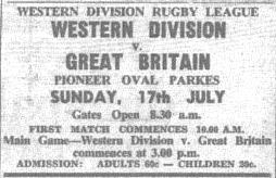 Advertisement for the game Source: The Champion Post Friday July 15 1966