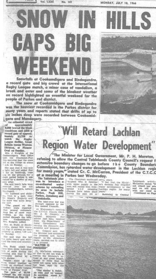Snow in the hills surrounding Parkes, conditions that Great Britain would have been more used to seeing than their hosts, Western Districts. Source: The Champion Post Monday July 18 1966