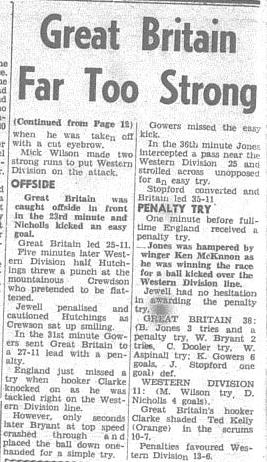 Second part of a match report of Western Districts vs Great Britain. Source: The Champion Post Monday July 18 1966