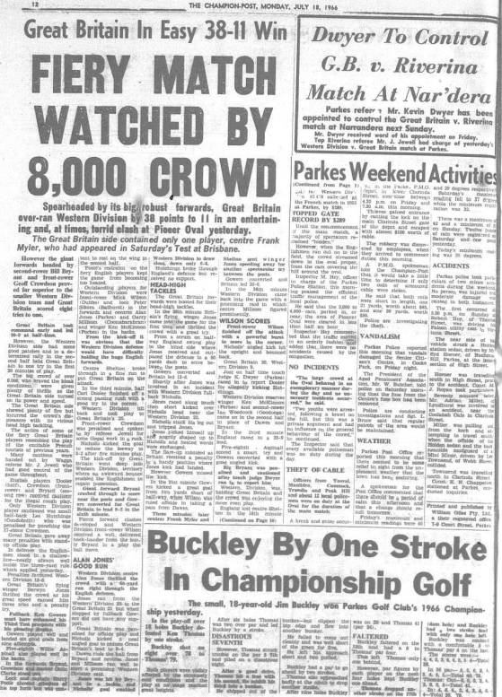 First part of a match report of Western Districts vs Great Britain. Source: The Champion Post Monday July 18 1966
