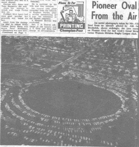 Aerial photograph of Western Districts vs Great Britain match. Source: The Champion Post Monday July 18 1966