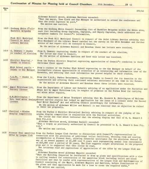 Council minutes showing the improvements to amenities at Pioneer Oval. Source: Parkes Municipal Council Meeting Minutes 10th December 1962 Number 1418