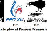 Logos of the touring teams to play at Pioneer Memorial Oval in the 1950s and 1960s