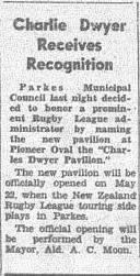 Parkes administrator Charlie Dwyer receives recognition for all his efforts. Source: Parkes Champion Post Wednesday 17 April, 1963