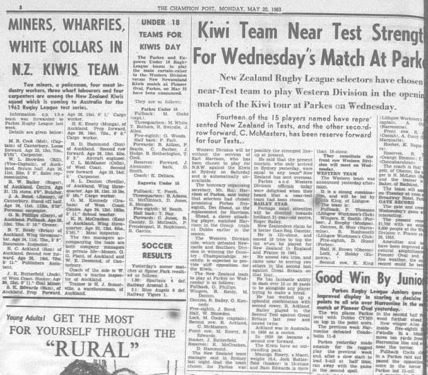 There was a lot of interest in the Kiwis coming to Parkes. Source: The Champion Post, Monday May 20 1963