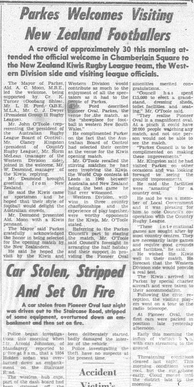 Parkes hospitality on show. The report indicates that only top quality regional grounds were allowed to host international teams. Source: The Champion Post Wednesday May 22, 1963