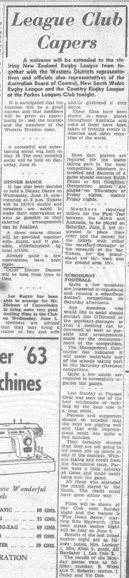 Another example of Parkes hospitality. Source: The Champion Post Wednesday May 22 1963