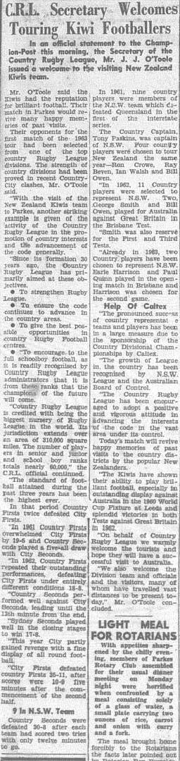 President of Country Rugby League extending his welcoming to the Kiwis team representatives. Source: The Champion Post Wednesday May 22 1963