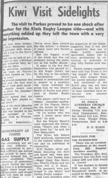 A positive visit and impression of Parkes on the international guests. Source: The Champion Post Friday May 24, 1963