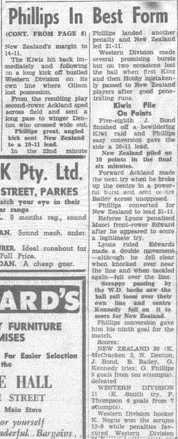 Second part of the match report Western Districts vs New Zealand Kiwis. Source: The Champion Post Friday May 24 1963