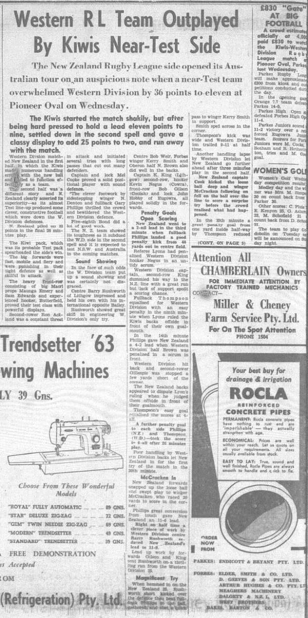 First part of the match report Western Districts vs New Zealand Kiwis. Source : The Champion Post Friday May 24, 1963