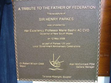 Closeup photograph of the plaque unveiled by Governor Marie Bashir in honour of the 'Father of Federation' Photograph by Parkes Shire Council May 12th 2008