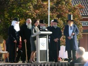 The town known for its Elvis impersonators tries its hand at impersonating its namesake. The Governor addresses the crowd as a group of Sir Henrys look on. From left to right: Stan Kingham, Bob Gould, Governor Marie Bashir, Trevor Rowney, Alan McCormack (Parkes Shire Council General Manager) , Deputy Mayor Ken Keith, Kevin Dumesny. Photograph by Parkes Shire Council May 12th 2008
