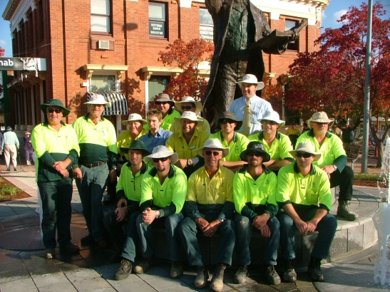 The team of Parkes Shire Council staff responsible for the redevelopment and unveiling of Chamberlain Square and Sir Henry Parkes statue.Back row (left to right): Terry Littler, Dale Ingram, Phil King (Manager Design and Traffic). Middle row: Dean Uptin, Greg Duffy, Geoff Finn, Nathan Koenig, Greg Jones, Ricky Newham, Aaron Thorne, Grahame Coleman. Front row: Jon Nyman, Andrew Klein, Phil Bishop, Ben Millett, Neville Slavin. Photograph by Parkes Shire Council,May 12th 2008