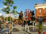 A different angle of Sir Henry Parkes statue with the newly planted trees. Photograph by Parkes Shire Council May 12th 2008