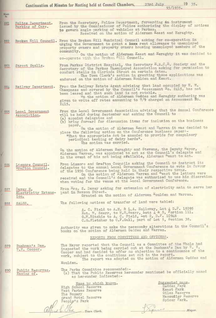 Council Minutes 23rd July 1935 detailing that many parks were to be renamed. Grand Hotel Reserve became Mazoudier Reserve (today now called Mazoudier Park)