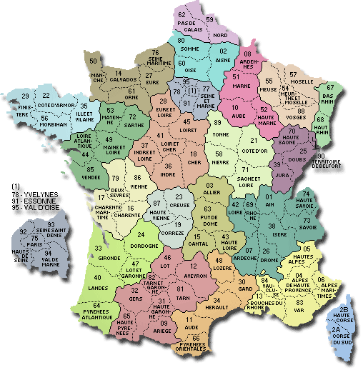 Map of France highlighting the different regions. The Mazoudiers were from southern France (07 Ardech and 38 Isere in dark green and 05 Hautes Alpes in yellow) Source: Map-France.com
