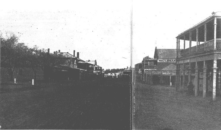 The main street as the photographer for the Town & Country Journal found it in 1898. The vantage point is just north of the intersection of Church Street, with Mazoudier's building on the right, and across Church Street on the corner is Howell's store. Source of photograph and text: Parkes: A Photographic History by Ian Chambers