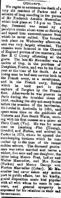 Obituary of Frederick Amable Mazoudier, storekeeper of Parkes. Source: The Western Champion Friday 20th July, 1906