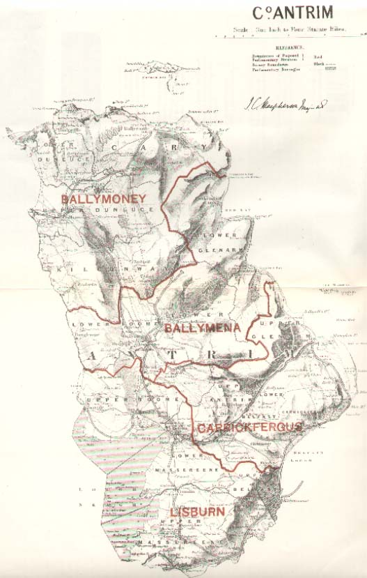 Map of the county of Antrim, Northern Ireland in 1885. The original Rosedurnate House, according to family descendants of former Mayor Andrew Stewart, is situated to the south of Ballymoney and the north of Ballymena. Source: County Antrim Genealogy site using a map from www.londonancestor.com