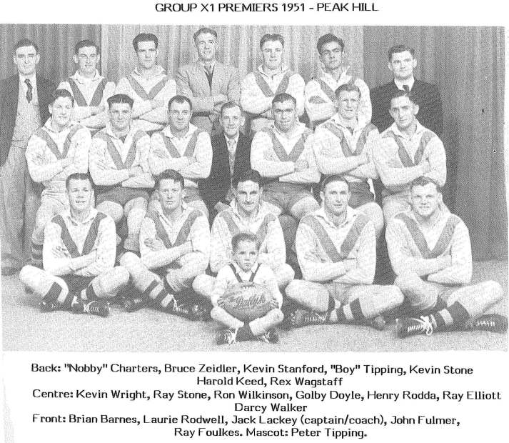 While the modern Peak Hill Roosters have not (yet) experienced success in the Woodbridge Cup, back in 1951 Peak Hill Rugby League Football Club were Group XI premiers. Source: A History of Peak Hill and District Chappel, Charles B. (ed) (1989) Parramatta: Macarthur Press, page 387 Print